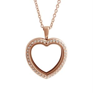 Picture of Large Rose Gold Crystal Heart Locket